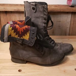 Grey tall lace up boots size 9.5